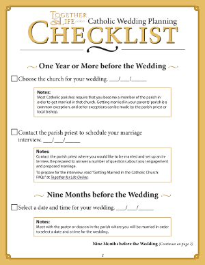 Catholic Wedding Planning Checklist