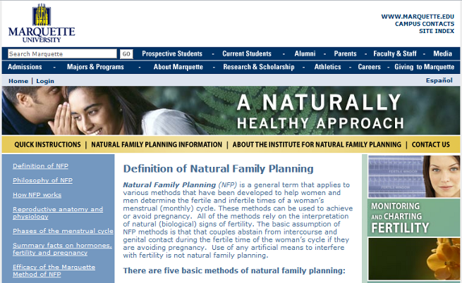 Marquette NFP Website